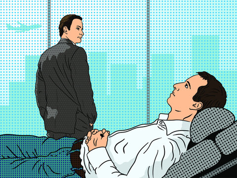 A young man in a white shirt lies on an armchair during a session with a psychoanalyst with his hands folded. Pin-up style illustration.