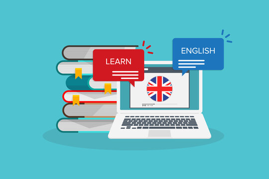 Learn English online on laptop computer. Study, education of foreign language lesson. internet learning course.