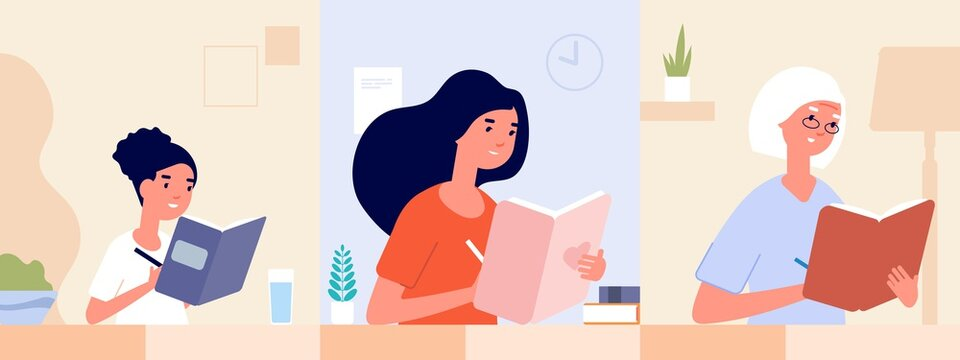 Female diary. Women write journal. Modern girl woman and old lady writing memories. Different age students, self education or drawing in sketch book vector . Diary journal, female student illustration