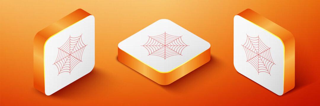 Isometric Spider web icon isolated on orange background. Cobweb sign. Orange square button. Vector.