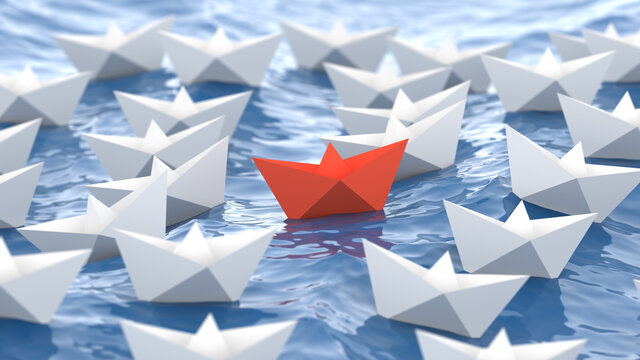 Leadership concept, red leader boat, standing out from the crowd of white boats, in the waves of the sea. 3D Rendering