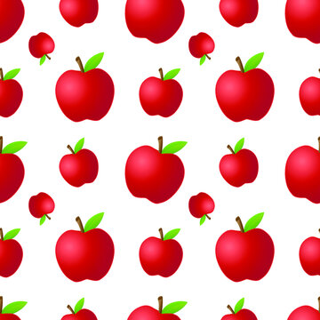 Red Apple Fruit Emoji Pattern. Farm Vegetable Seamless Background Symbols. Silhouette Emoticon Healthy Agriculture Vector.