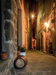 Night street in Italian village