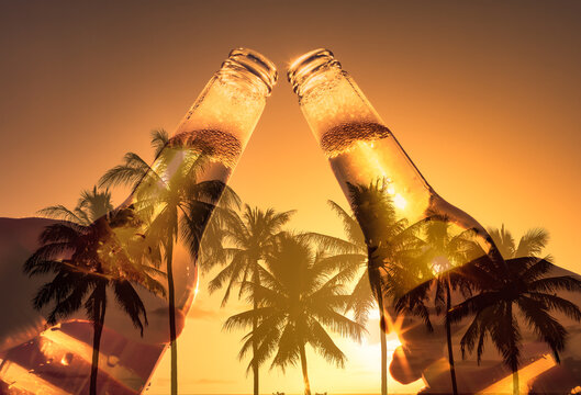 People toasting ice cold beer agains tropical sunset background