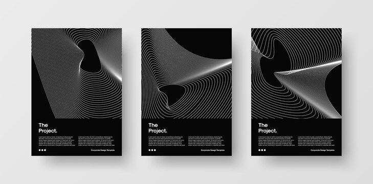 Modern Abstract Cover Design Templates. Set of Creative Multipurpose Covers for Corporate Identity, Brochure, Branding, Poster, Annual Report. Vector A4 Template with Geometric Line Wave Illustrations