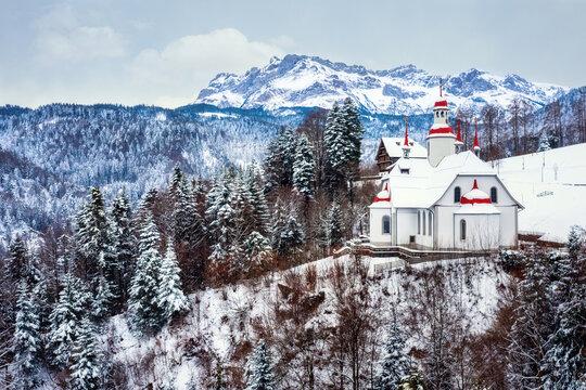 Hergiswald church in swiss Alps, Lucerne, Switzerland
