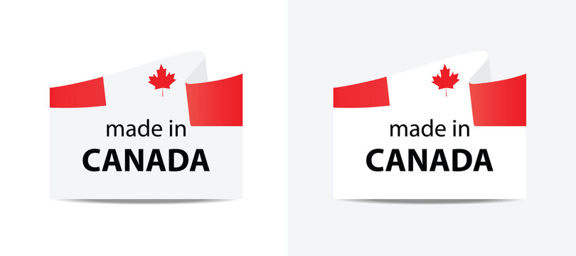 made in Canada vector stamp. badge with Canada flag
