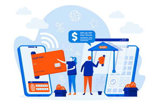 Mobile banking web design concept with people characters. People use mobile payment app scene. Smart finance composition in flat style. Vector illustration for social media promotional materials.