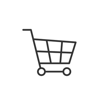 Shopping cart icon in flat style. Trolley vector illustration on white isolated background.