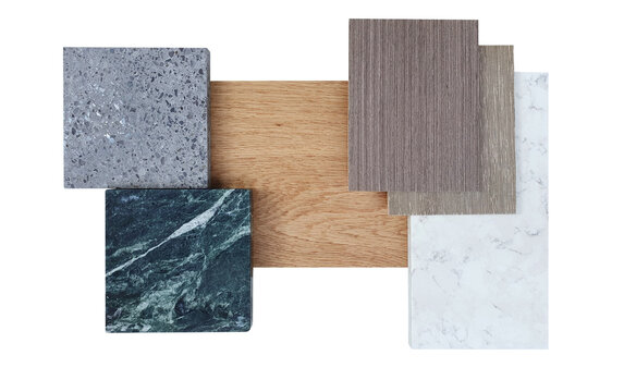 interior material board including douglas fir wooden veneer ,terrazzo stone ,white and green marble tile ,oak wooden engineering or laminated flooring samples isolated on white background.