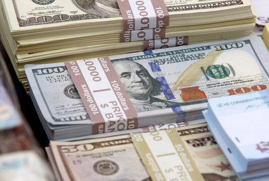 souvenir,not real, banknotes of 100 US dollars and 50 US dollars, closeup.