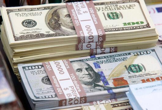 souvenir,not real, banknotes of 100 US dollars and 50 US dollars, closeup
