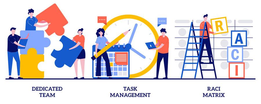Dedicated team, task management, RACI matrix concept with tiny people. Developers team management abstract vector illustration set. Productivity online platform, responsibility chart metaphor
