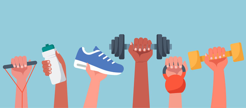 Sport exercise web banner concept, human hands holding training equipment such as dumbbells, kettlebell and resistance band, time to fitness workout and healthy lifestyle, vector flat illustration