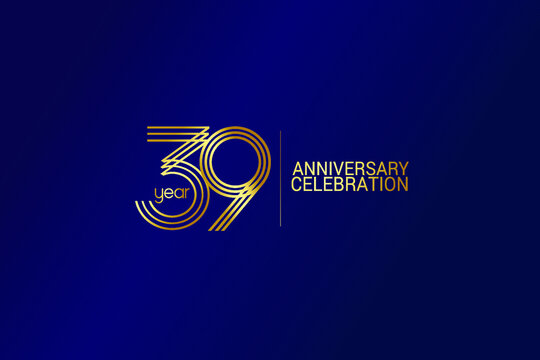 39 year anniversary celebration Gold Line. logotype isolated on Blue background for celebration, invitation card, and greeting card-Vector