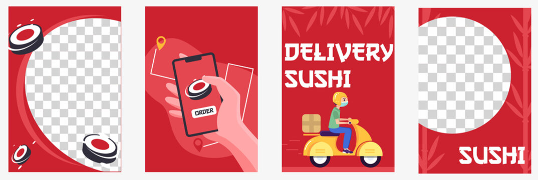 set of templates for sushi business. Social media templates with png cell for product. Sushi order and delivery banner