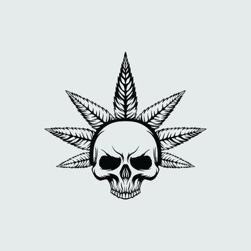 Skull cannabis hemp vector illustration