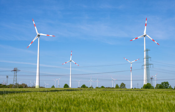 Wind power turbines and power lines seen in Germany