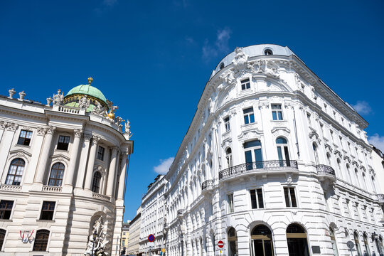 Beautiful renovated old buildings seen in the heart of Vienna, Austria