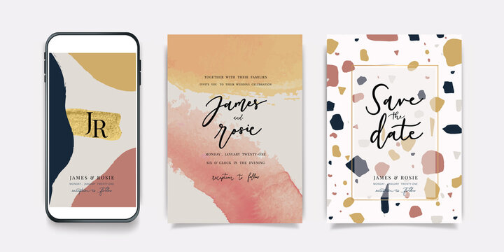 Luxury Pink Social Media, mobile  Wedding invite frame templates. Vector background. Invitation mobile Floral with golden collage layout design.