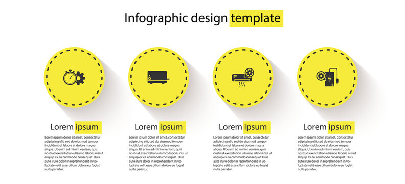Set Time management setting, Toaster, Air conditioner and Power bank. Business infographic template. Vector.