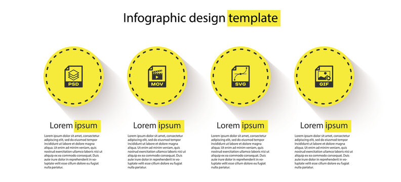 Set PSD file document, MOV, SVG and GIF. Business infographic template. Vector.
