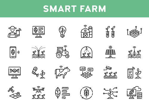 Vector Smart Farm Agriculture Icon Set