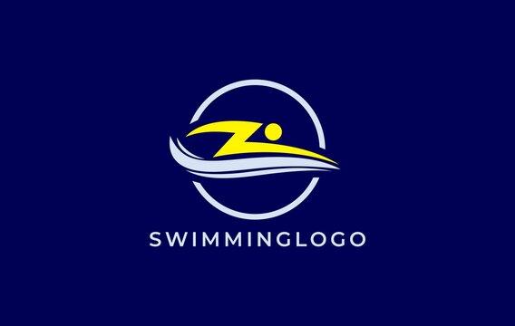 yellow blue lightning swimming logo design