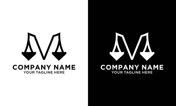 Letter M pillar attorney at law logo design