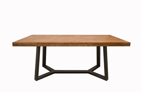 wooden lacquered table with black metal legs on white backgroun