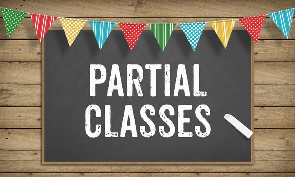 Partial Classes text on blackboard with chalk, school educiation concept