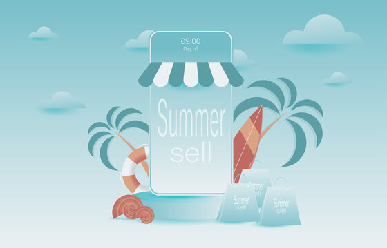 The concept of online shopping via mobile phone In the summer Vector