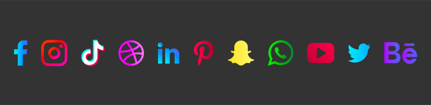 Popular social networks logos isolated on black Facebook, Instagram, Twitter, Snapchat, WhatsApp