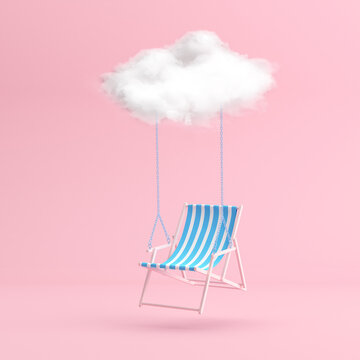 Minimal scene of floating beach chair by the white cloud on pink background. 3D rendering