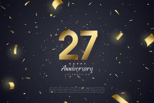 27th Anniversary with scattered golden paper and numbers illustration.