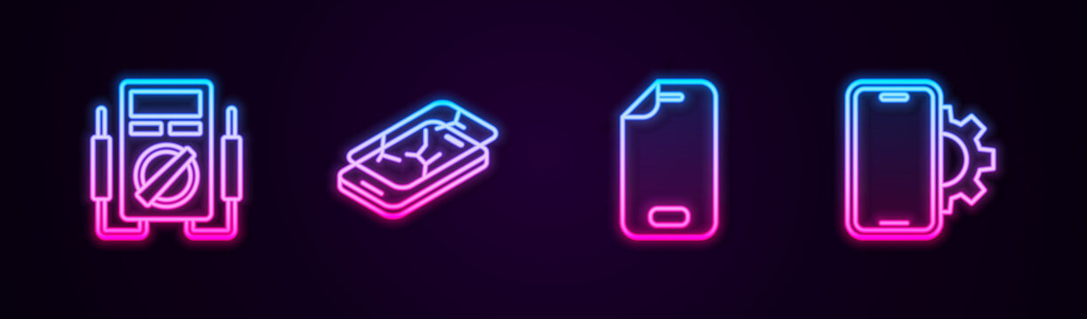 Set line Multimeter, Mobile with broken screen, Glass protector and Phone repair service. Glowing neon icon. Vector.