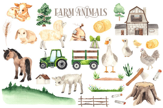 Watercolor Farm Animals elements with cute little sheep, cow, horse, goose, chicken, rabbit, house, tractor