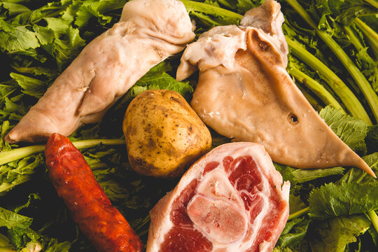 overhead view ingredients of the Galician stew recipe during carnivals