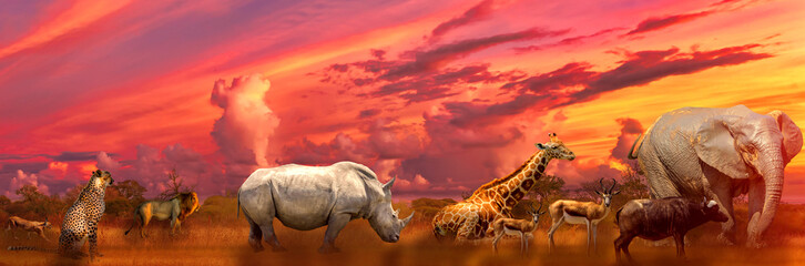 Banner panorama of Big Five and wild animals collage with african landscape at sunrise in Serengeti wildlife area, Tanzania, East Africa. Africa safari scene in savannah landscape.