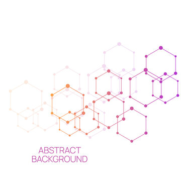 Scientific abstract background with particle, hexagons, atom, molecule structure. genetic and chemical compounds. Medicine, science and technology vector illustration.