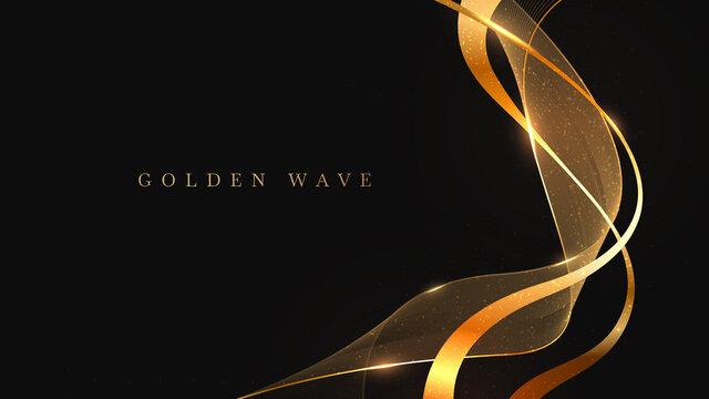 Golden wave on black background , luxury modern concept. vector illustration for design.