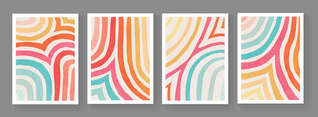 Fototapeta Set of minimalist hand painted posters. Mid century modern illustration. Colorful stripes artwork. Abstract cover design. Contemporary art. obraz