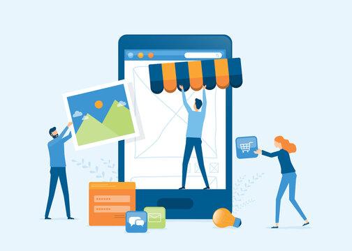 vector illustration design developer and designer team create online shop on mobile phone concept
