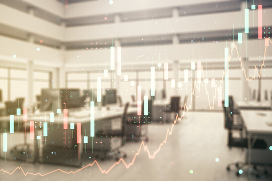 Abstract virtual financial graph hologram on a modern furnished office background, forex and investment concept. Multiexposure