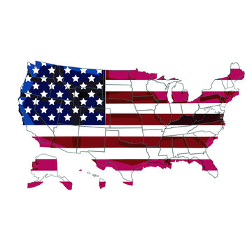 Detailed USA map with US flag. United states of America colorful map 50 stars and  13 lines.