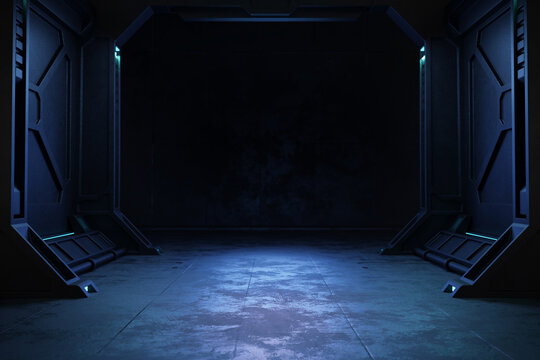 Empty dark room, Modern Futuristic Sci-Fi background