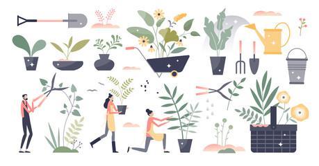 Fototapeta Gardening set as summer botany plant care work elements tiny person concept
