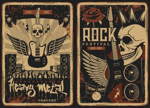 Hard rock concert retro posters with vector skull and electric guitar. Punk band music festival show on scene with audience. Heavy metal vintage grunge cards with winged amp, dynamics and rose flower