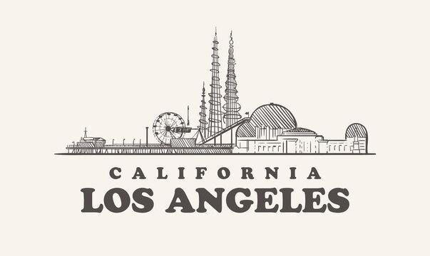 Los Angeles skyline, california hand drawn sketch