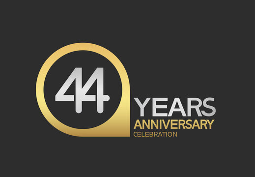 44 years anniversary celebration simple design with golden circle and silver color combination can be use for greeting card, invitation and special celebration event